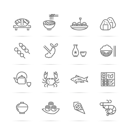 Japanese food vector line icons, minimal pictogram design, editable stroke for any resolution