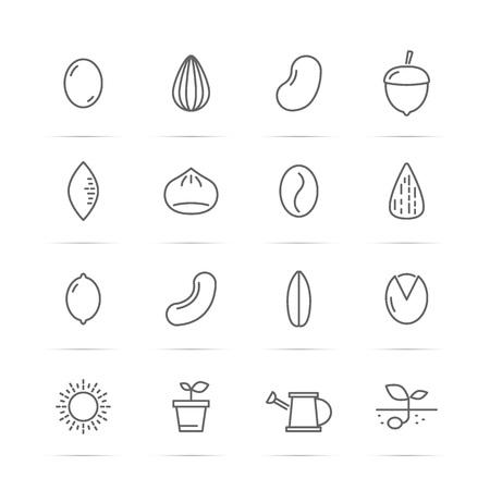種子、ナット ベクトル線のアイコン, 最小限のピクトグラム デザイン, 任意の解像度の編集可能なストローク  イラスト・ベクター素材