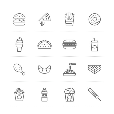 onion rings: Fast food vector line icons, minimal pictogram design, editable stroke for any resolution