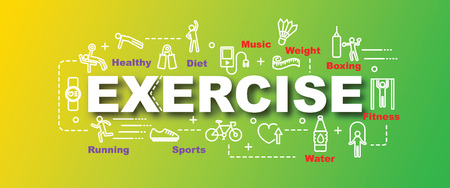 exercise vector trendy banner design concept, modern style with thin line art exercise icons on trendy colors background