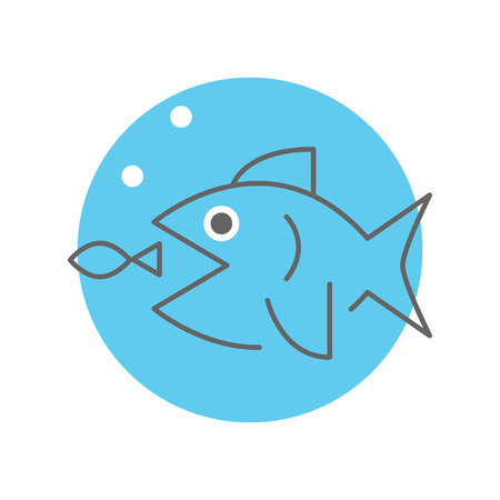 Big fish eating little fish, business strategy concept, vector minimal design