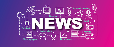 news van: news vector trendy banner design concept, modern style with thin line art news icons on trendy colors background