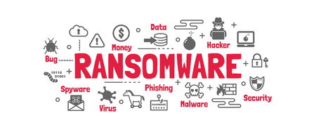 ransomware vector banner design concept, flat style with icons on white background Иллюстрация
