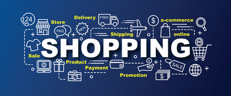 shopping icons: shopping vector trendy banner design concept, modern style with thin line art shopping icons on gradient colors background
