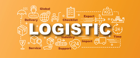 Logistic vector trendy banner design concept, modern style with thin line art logistic icons on gradient colors background
