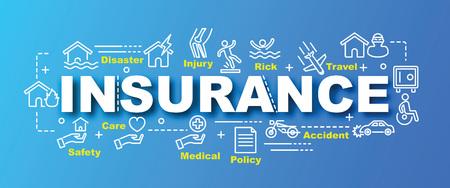 Concept de conception de bannière tendance vecteur d'assurance, style moderne avec des icônes d'assurance art ligne mince sur fond de couleurs dégradées