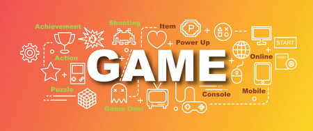 Game trendy banner design concept, modern style with thin line art video game icons on gradient colors background
