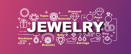 diamond stones: Jewelry trendy banner design concept, modern style with thin line art icons on gradient colors background