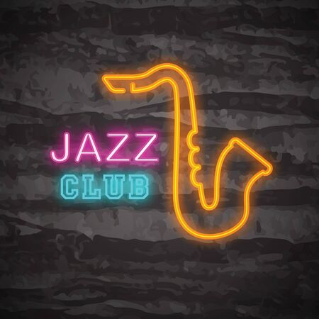 classic classical: Jazz club neon logo, vector neon glow on dark background Illustration