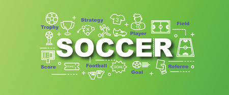 soccer goal: soccer vector trendy banner design concept, modern style with thin line art icons on gradient colors background Illustration