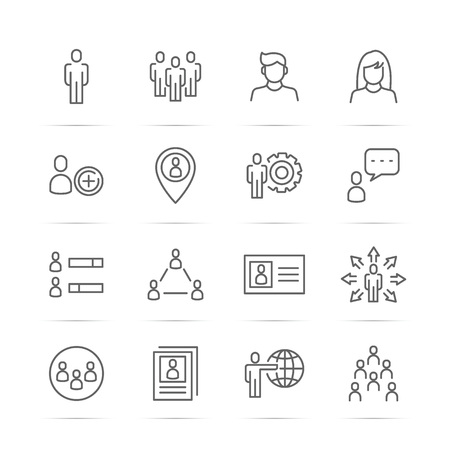 people vector line icons, minimal pictogram design, editable stroke for any resolution