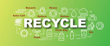 recycle vector trendy banner ontwerpconcept, moderne stijl met dunne lijn kunst pictogrammen op kleurovergang kleuren achtergrond