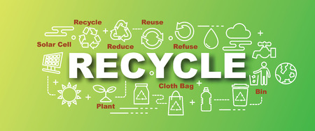 recycle vector trendy banner design concept, modern style with thin line art icons on gradient colors background Illustration