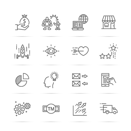 small business vector line icons, minimal pictogram design, editable stroke for any resolution