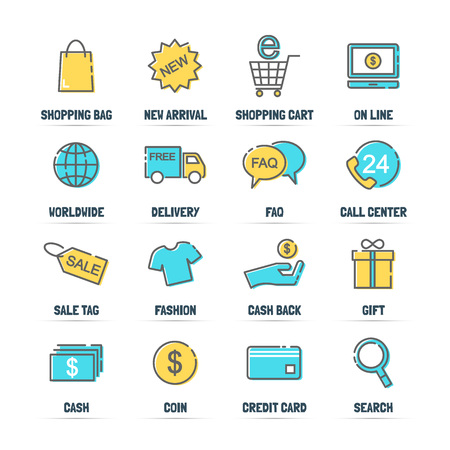 gift basket: shopping vector line icons with flat colors, minimal pictogram design, editable stroke for any resolution