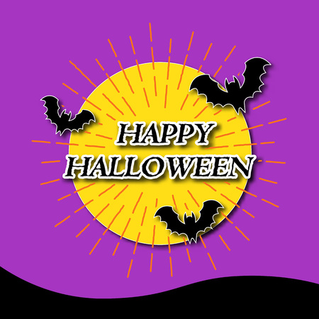 ray of light: happy halloween banner with light rays, vector greeting card, paper art style