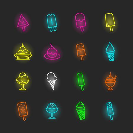 Conjunto de iconos de helado de neón, trazo editable de diseño vectorial