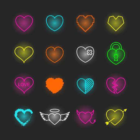 Heart neon icon set, vector design editable stroke Illustration