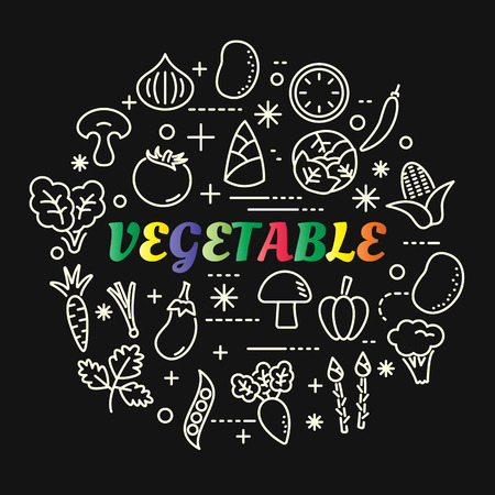 vegetable colorful gradient with line icons set, vector editable stroke