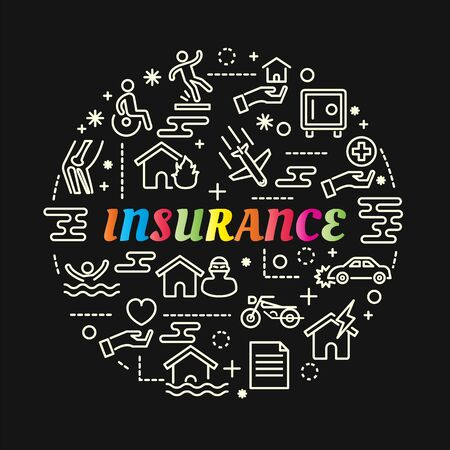 insurance colorful gradient with line icons set, vector editable stroke