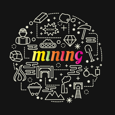 mining colorful gradient with line icons set, vector editable stroke