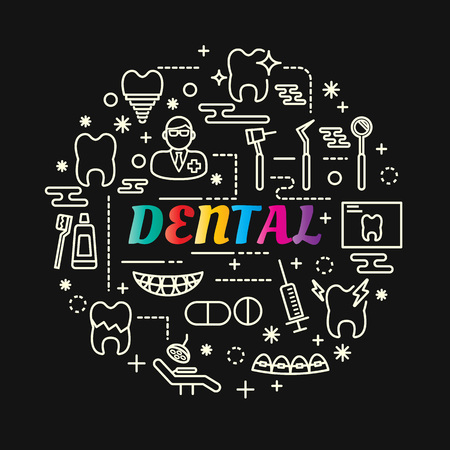 Dental colorful gradient with line icons set, vector editable stroke.