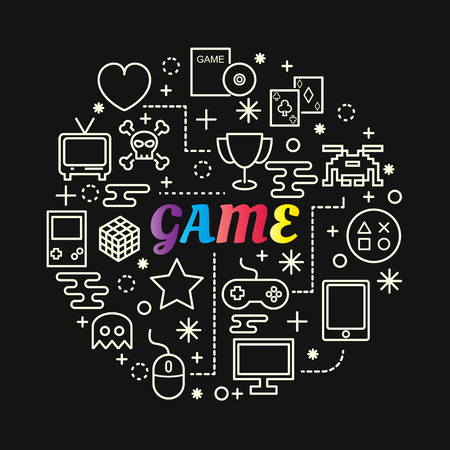Game colorful gradient with line icons set Illustration