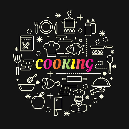 cooking colorful gradient with line icons set, vector editable stroke Illustration
