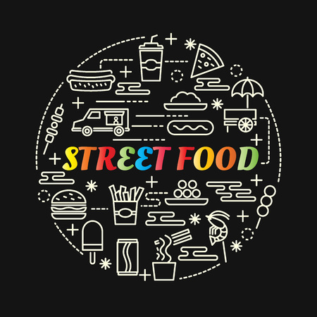 Street food colorful gradient with line icons set, vector editable stroke Illustration