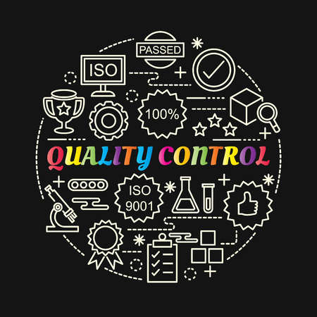 Quality control colorful gradient with line icons set, vector editable stroke Illustration