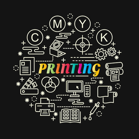 Printing colorful gradient with line icons set, vector editable stroke Illustration