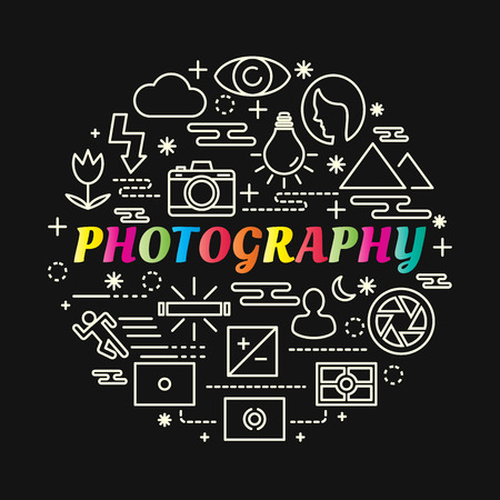 Photography colorful gradient with line icons set, vector editable stroke Illustration