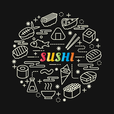 Sushi colorful gradient with line icons set, vector editable stroke