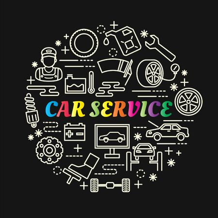 Car service colorful gradient with line icons set, vector editable stroke Illustration