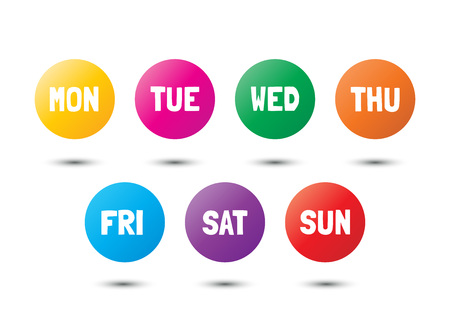 Weekly colorful icons, vector design elements