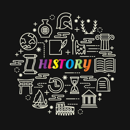 History colorful gradient with line icons set, vector editable stroke Illustration