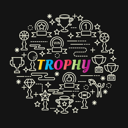 Trophy colorful gradient with line icons set, vector editable stroke