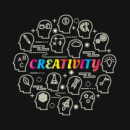Creativity colorful gradient with line icons set, vector editable stroke