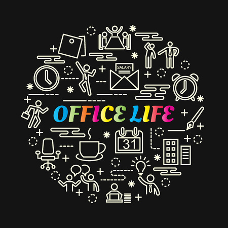 Office life colorful gradient with line icons set, vector editable stroke