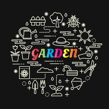 Garden colorful gradient with line icons set, vector editable stroke