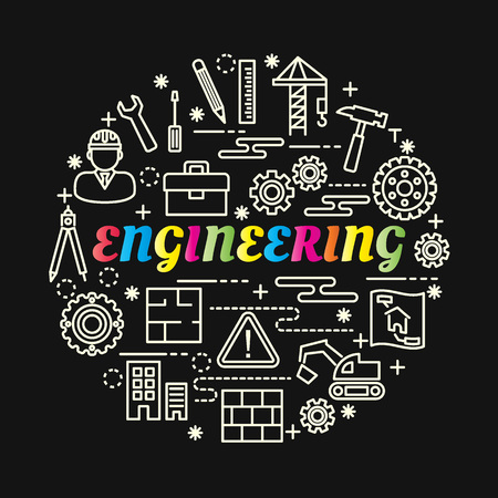 Engineering colorful gradient with line icons set, vector editable stroke Illustration