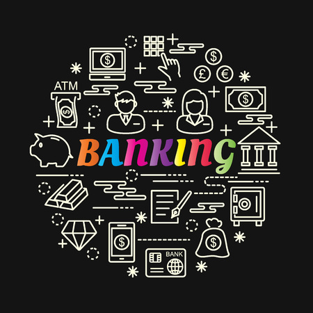 banking colorful gradient with line icons set, vector editable stroke