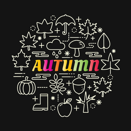 autumn colorful gradient with line icons set, vector editable stroke