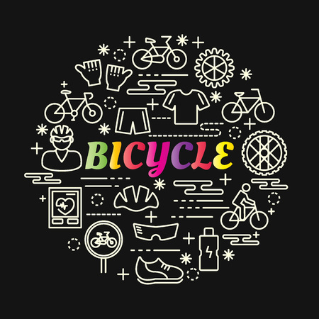 bicycle colorful gradient with line icons set, vector editable stroke
