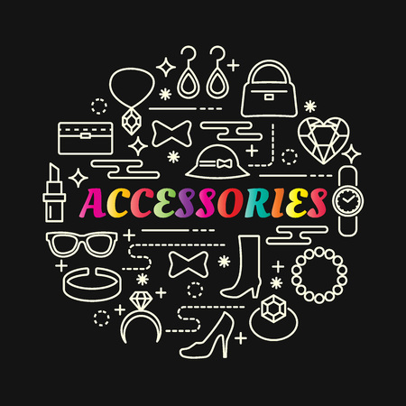 accessories colorful gradient with line icons set, vector editable stroke Stok Fotoğraf - 96658464