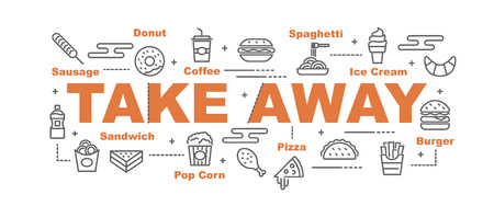 take away food vector banner design concept, flat style with icons  イラスト・ベクター素材