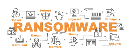 ransomware vector banner design concept, flat style with icons