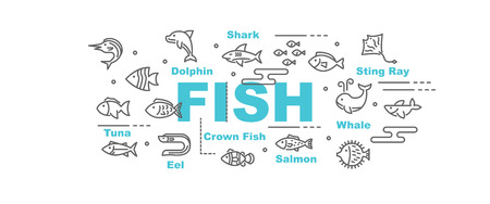 fish vector banner design concept, flat style with icons