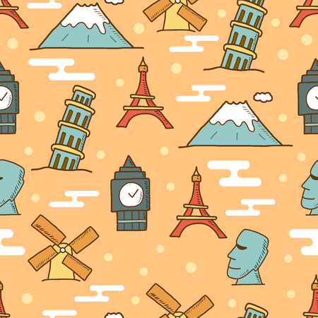 landmark doodle seamless pattern, vector background