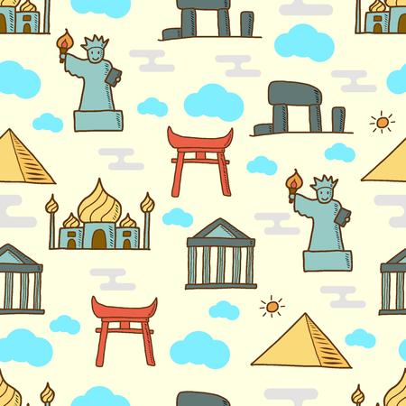 landmark doodle seamless pattern, vector background